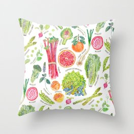 Spring Harvest Pattern Annotated Throw Pillow