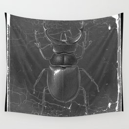 BLACK & WHITE  ANTIQUE STAG-HORNED BEETLE   PATTERNS  ART Wall Tapestry