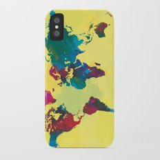 Watercolor World Map iPhone X Slim Case