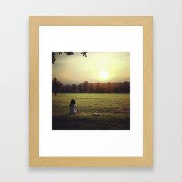 Women and Jack Russell dog enjoying english sunset Framed Art Print