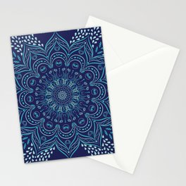 Navy blue and teal mandala pattern Stationery Cards