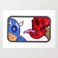 superheroes Art Prints featuring Superheroes by Jamie Clayton