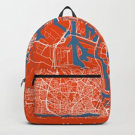 Hamburg Map | Germany | Tomato Color | More Colors Backpack