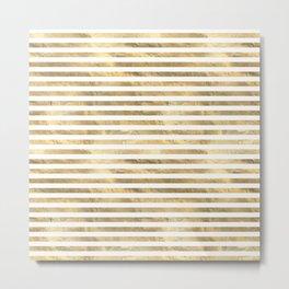 Gold & White Stripe Pattern Metal Print