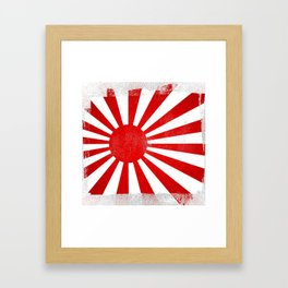Japanese Imperial Navy Rising Sun Distressed Halftone Denim Flag Framed Art Print