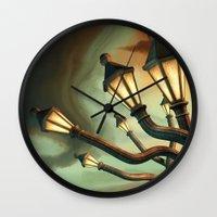 drunk Wall Clocks featuring Drunk Streetlamps by Remus Brailoiu