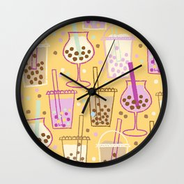 Ice Bubble Pattern Orange Wall Clock