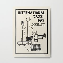 Vintage poster-International jazz day april 30. Metal Print