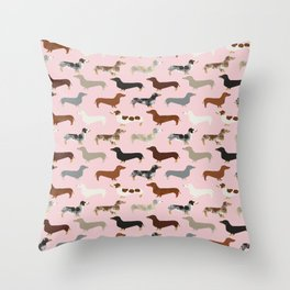 Dachshund doxie pet portrait hot dog weener dog breed funny small dogs puppy gifts for dachshund  Throw Pillow