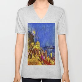 Istanbul At Night Van Gogh Unisex V-Neck
