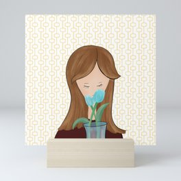 Girl With Flowers Girl With Tulips Mini Art Print