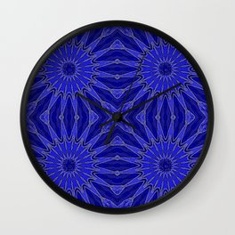 Blue pinwheel Flowers Wall Clock