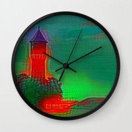 Water Tower Strelitz Neon Tiles Wall Clock