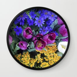 Floral Spectacular: Blue, Plum and Gold - Olbrich Botanical Gardens Spring Flower Show, Madison, WI Wall Clock