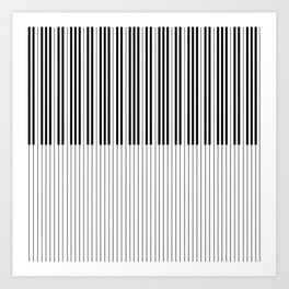 The Piano Black and White Keyboard Stripes with Vertical Stripes Art Print
