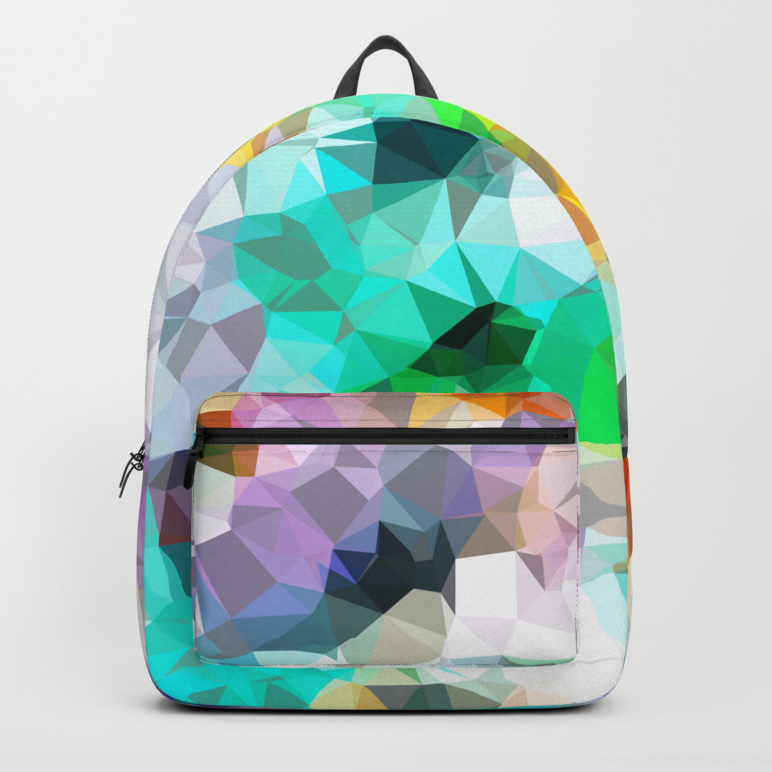 psychedelic geometric triangle polygon pattern abstract background in green  blue yellow Backpack by timla