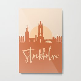 STOCKHOLM SWEDEN CITY SUN SKYLINE EARTH TONES Metal Print