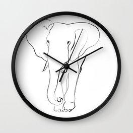 Elephant one line drawing Wall Clock