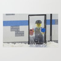 police Area & Throw Rugs featuring Police Officer by Pedro Nogueira
