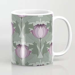 Lavender Flowers Art Nouveau Inspired Floral Pattern Coffee Mug
