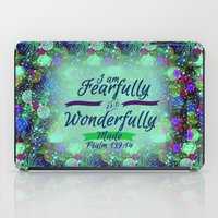 scripture iPad Cases featuring FEARFULLY AND WONDERFULLY MADE Floral Christian Typography God Bible Scripture Jesus Psalm Abstract by The Faithful Canvas