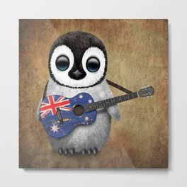 Baby Penguin Playing Australian Flag Guitar Metal Print