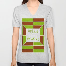 hello world 5 green and brown Unisex V-Neck