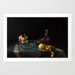 Orange and roses still life Art Print