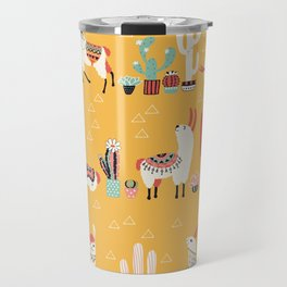 Happy llama alpaca- cute hand drawn illustration Travel Mug