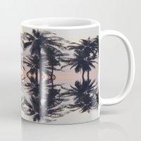 palm tree Mugs featuring palm tree by Maria Fernanda Furtado