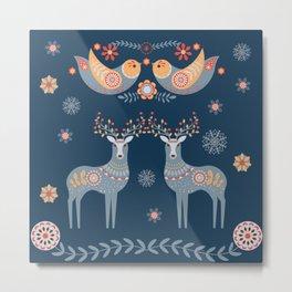 Nordic Winter Blue Metal Print