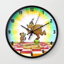 Admiring Daddy Bear Wall Clock