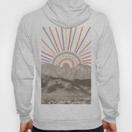 Bohemian Tribal Sun / Abstract Vintage Mountain Happy Summer Vibes Retro Colorful Pastel Sky Artwork Hoody