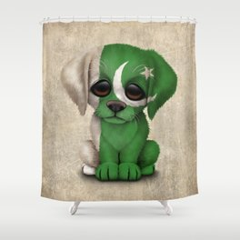 Cute Puppy Dog with flag of Pakistan Shower Curtain