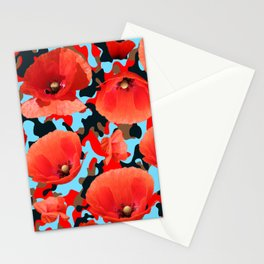 Poppie Camouflage Red Blue Stationery Cards