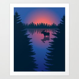 Moose in a Lake, Summer Forest Art Print