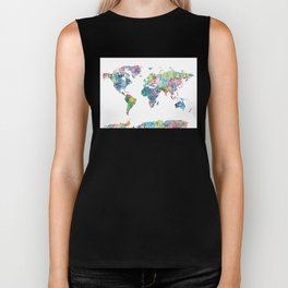 world map mandala watercolor white Biker Tank