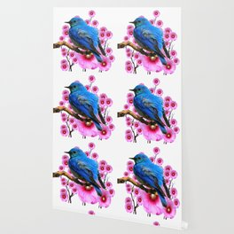 DECORATIVE BLUE BIRD & PINK HOLLYHOCKS VIGNETTE Wallpaper