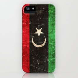 Vintage Aged and Scratched Libyan Flag iPhone Case