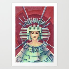 Portrait with silver Chullo Art Print