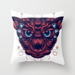 Mythical Cat Sacred Geometry Throw Pillow