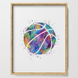 Basketball Watercolor Art Print Sports Poster Home Decor Kids Room Sports Painting Nursery Decor Serving Tray