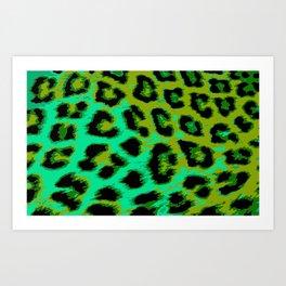 Aqua and Apple Green Leopard Spots Art Print