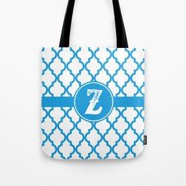 Blue Monogram: Letter Z Tote Bag