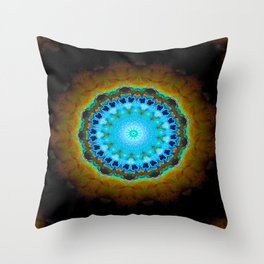 Lovely Healing Mandalas in Brilliant Colors: Black, Brown, Navy, Copper, and Light Blue Throw Pillow