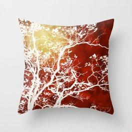 Burgundy Tree Art Throw Pillow