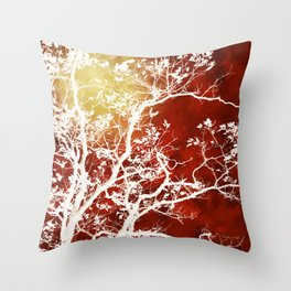 Burgundy Tree Art Throw Pillow