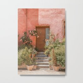 Pink House Front Door In France Photo | Europe Summer Travel Photography | Greens And Roses Art Print Metal Print