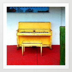 Out of Tune - Vintage Beach Piano Art Print