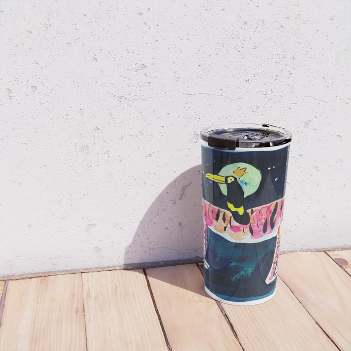 Toucan and Tiger in the Night Sky Painting Travel Mug